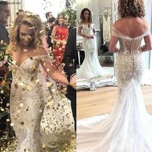 Sexy Off Shoulder Mermaid Wedding Dress Dubai Backless Appliqued Garden Country Church Bride Bridal Gown Custom Made Plus Size