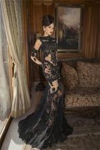 Attraktive Schwarzer Spitze Oansatz Abendkleid Regelmäßige Long Sleeves Appliqued Aktivität Kleid Bodenlangen Meerjungfrau Vestido De Festa