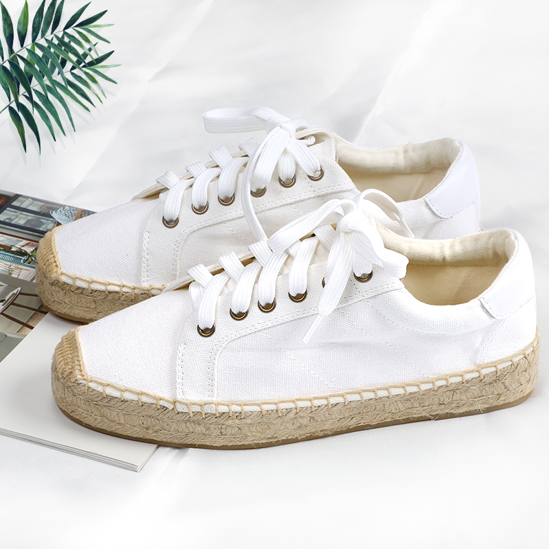 Platform lace up espadrille style in white color