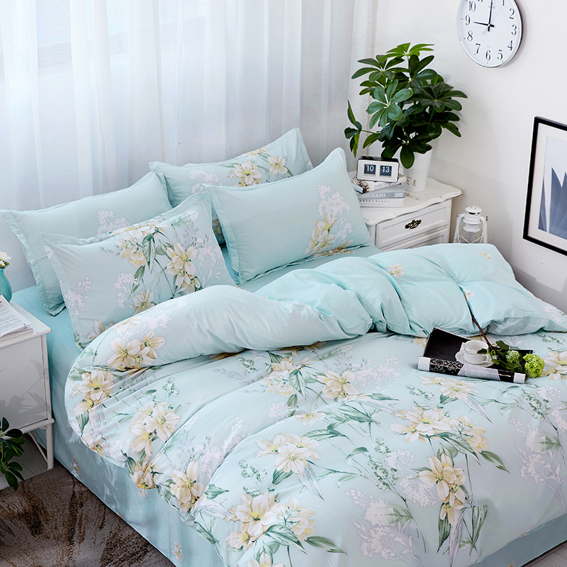 Creative Fashion Sky Blue Flower Printed Bedding