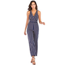 rompers womens jumpsuit summer 2019 backless v-neck striped romper plus size sexy sleeveless jumpsuits one piece pants A2519(China)