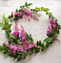 Wisteria Flower Rattans Artificial Vines Silk Garlands for decorative Flowers Color white Pink Green Purple