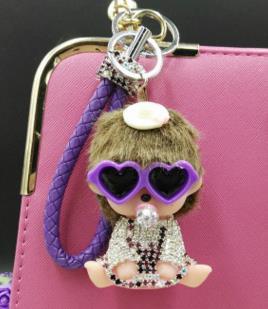 Cartoon crystal Monchichi key chain Definitely Cute Bunny Baby Doll Keychain Pendant For Womens Accessory Handbag Charms Purse