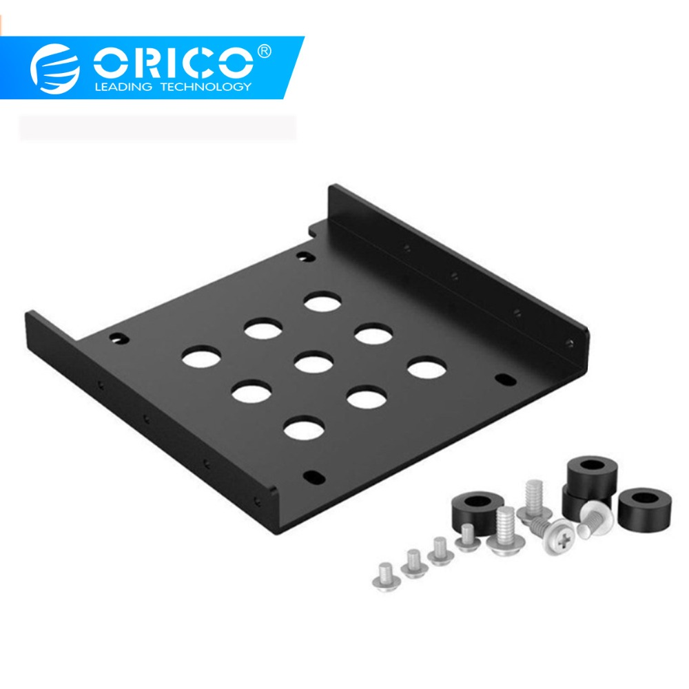 ORICO Aluminum 2.5'' To 3.5'' Hard Disk Drive Mounting Bracket Kit HDD SSD SATA Bay Converter (3.5 To 1x2.5 Black)