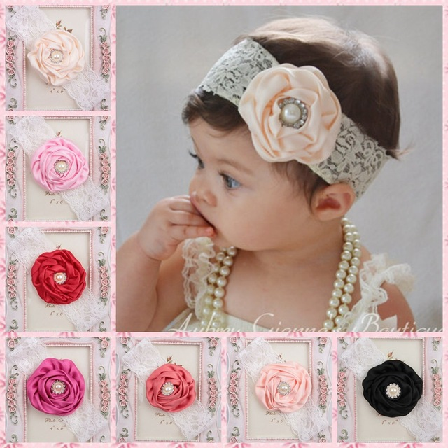 0a11611ae85 2014 new kids Girls roll rose flower lace headband with rhinestone girl  Photo props hair accessory 60ps lot free shipping
