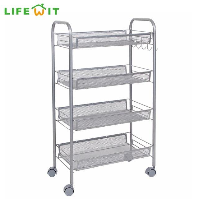 Lifewit 4 Tier Multi Purpose Rolling Cart Removable Kitchen Laundry  Bathroom Storage Rack Basket
