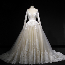 HIRE LNYER 2019 Long Sleeve Backless Wedding Bride Dresses