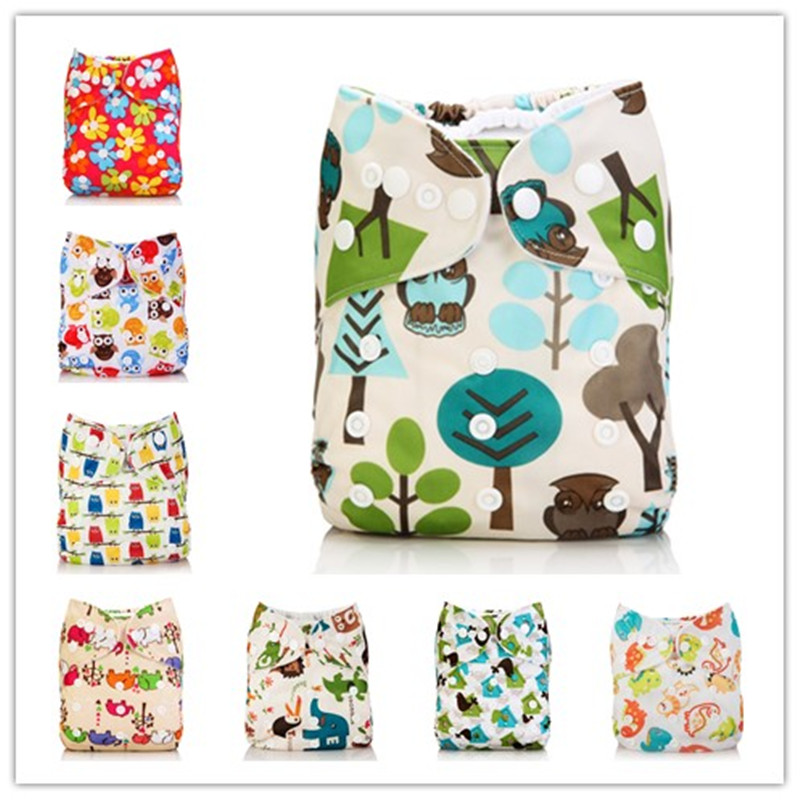 Washable Baby Cloth Diaper Cover Waterproof Cartoon Owl Baby Diapers Reusable Cloth Nappy Suit 0 2years