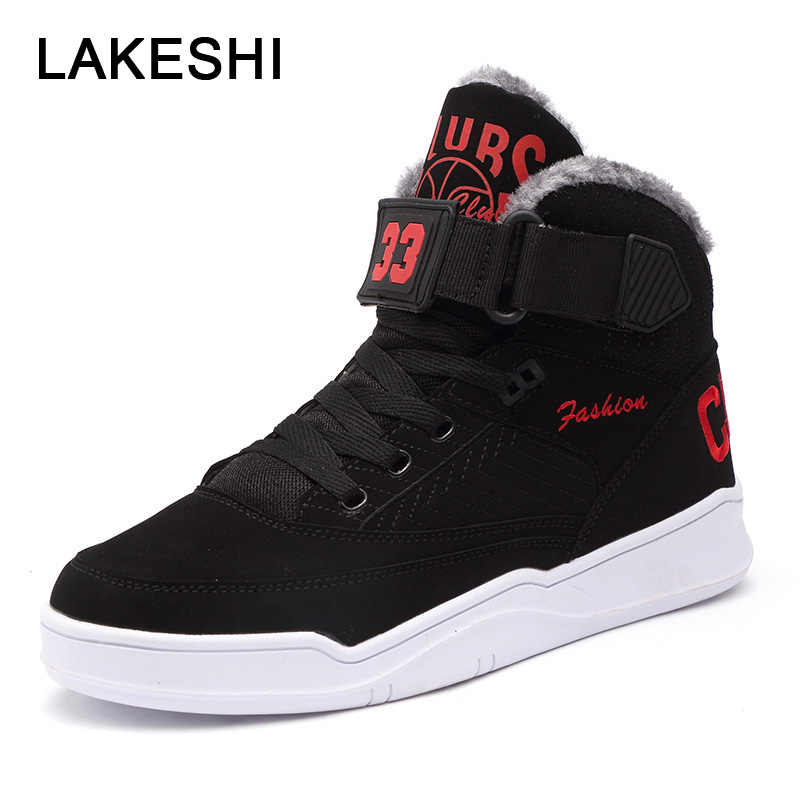 2227b267ea2 LAKESHI Winter Men Snow Boots High Top Fur Men Ankle Boots Fashion Velvet  Men Boots Men Casual Shoes Sneakers Plus Size 39-47