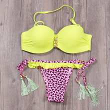 BISEAFAIRY 2019 New Sexy Push Up Bikini Set Brazilian Women Swimsuit Bandeau Floral Print Swimwear Top Beach Bathing Suit