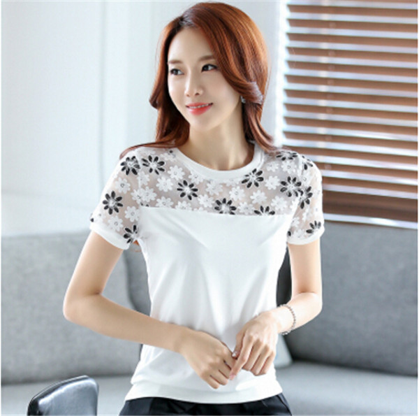 2017 Summer Embroidery t Shirt Women Tee Tops Plus Size White Lace T-shirt Chiffon Yarn Women's Clothing Slim T-shirt Designer