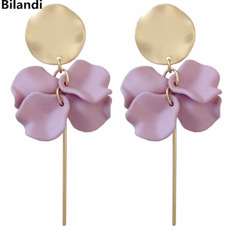 Pretty Metal Weave Disc Sweet Super Fairy Flower Petal With Long Stick Earring For Woman Jewelry