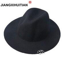 Новинка широкими полями pin металла Кольца черные плоские края Фетр джаз шляпа осенне-зимняя одежда из шерсти котелок Шапки для Для женщин Для мужчин