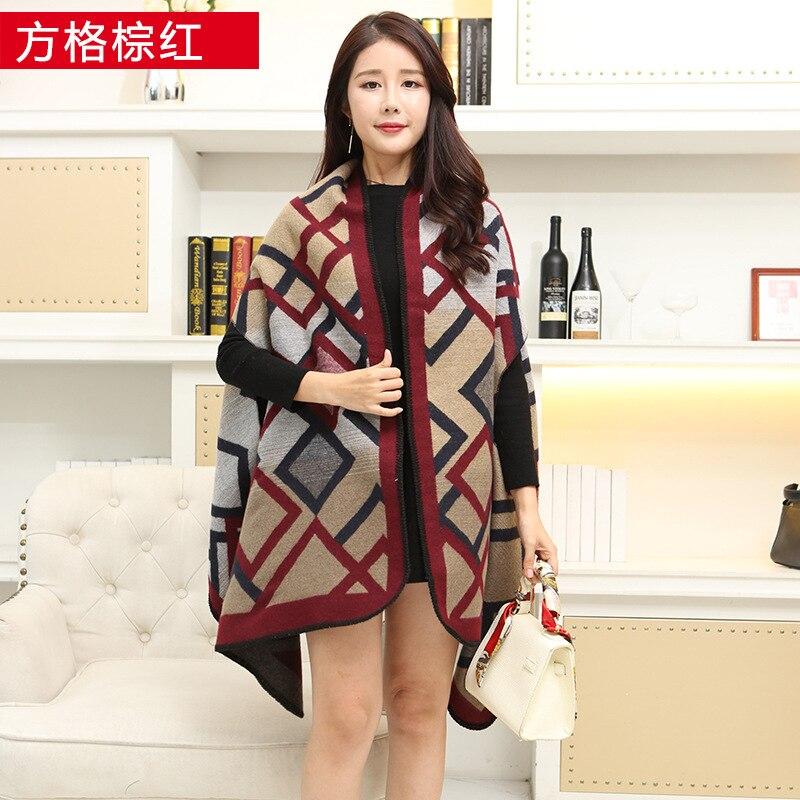 Новинка, роскошный брендовый женский зимний шарф, теплая шаль, женское Клетчатое одеяло, вязанное кашемировое пончо, накидки для женщин, echarpe - Цвет: Checkered brown