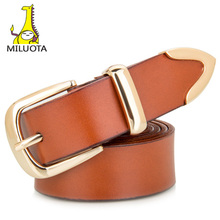 [MILUOTA] 2015 Genuine leather women belt fashion exquisite design metal pin buckle brand belts for women thick belt WND500