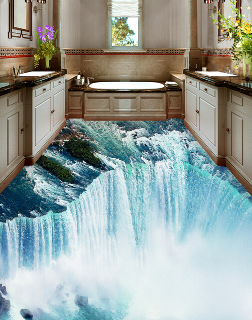 [Self-Adhesive] 3D Waterfall 6 Non-slip Waterproof Photo Self-Adhesive Floor Mural Sticker WallPaper Murals Wall Print Decal