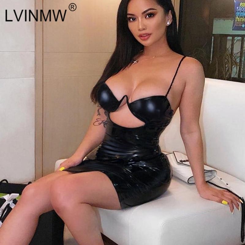 LVINMW Sexy Black Spaghetti Strap Hollow Out V-Neck Mini Dress 2019 Summer Women Backless Bodycon Dress Female Party Club Dress