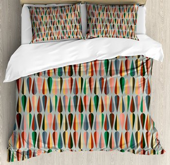Mid Century Duvet Cover Set Simple Two Colored Drop Shapes Grid Symmetrically Lined on Grey Background 4 Piece Bedding Set