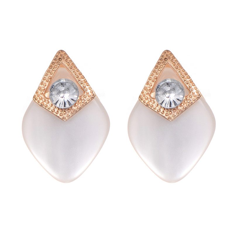 2016 New Fashion Gold Color Shining Crystal  Square Opal Stud Earrings Gemmetric Cute Earrings For Women Party Jewelry Brincos
