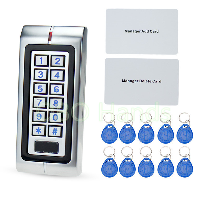 IP65 Metal Waterproof Access Controller 125KHz RFID Card Reader Keypad With 10 Keys For Door Access Control System lpsecurity 125khz id em or 13 56mhz rfid metal door lock access controller with digital backlit keypad ip65 waterproof