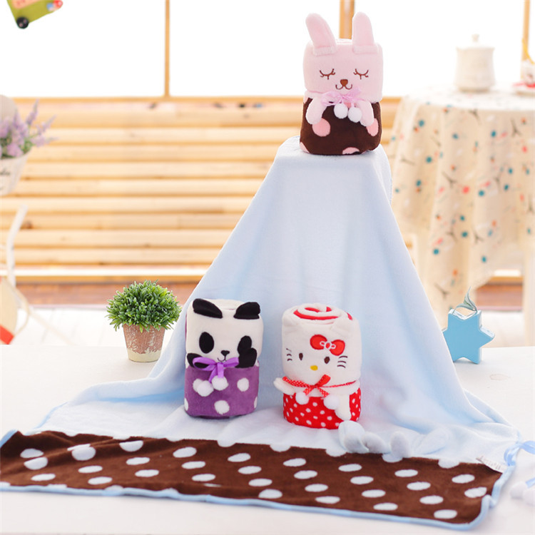2018 New Cortoon Blanket Splicing Coral Velvet Air-conditioning Blanket, Double Plush Blanket, WeChat Point Like Gift Blanket