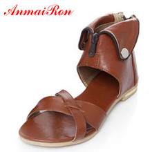 ANMAIRON New Ankle-Wrap Round Toe Flats Shoes Women Casual Summer Bohemian Sandals Women Platform Sandals White Shoes Woman