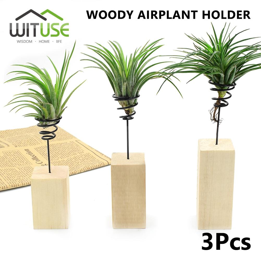 WITUSE SALE 3pcs 3 Sizes 3pcs(S+M+L) Air Plant Wood Metal Stand Holder Tillandsia Table Desk Display