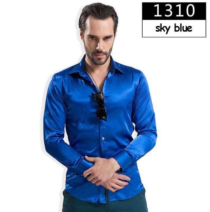 ZOEQO новая рубашка-смокинг для мужчин, 12 цветов, шелковое мужское однотонное платье с длинными рукавами, рубашка с запонками, мужские рубашки camisetas masculinas - Цвет: 1310 sky blue