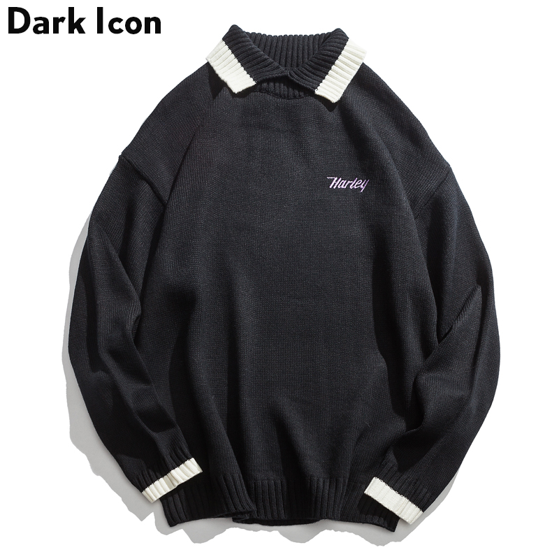 Sweater Men Oversized Embroidery Autumn Blue Letter Black Turn-Down Collar Contrast Dark-Icon