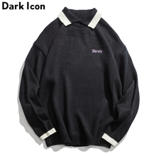 Letter Embroidery Turn-down Collar Color Contrast Sweater Men 2018 Autumn Oversized Men's Sweater Blue Black