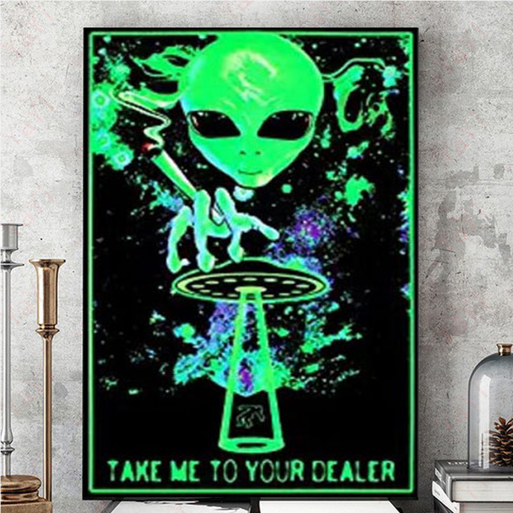 Hot Take Me To Your Dealer Blacklight Poster Silk Print Wall Painting Bar Cafe Wall Decoration Indoor