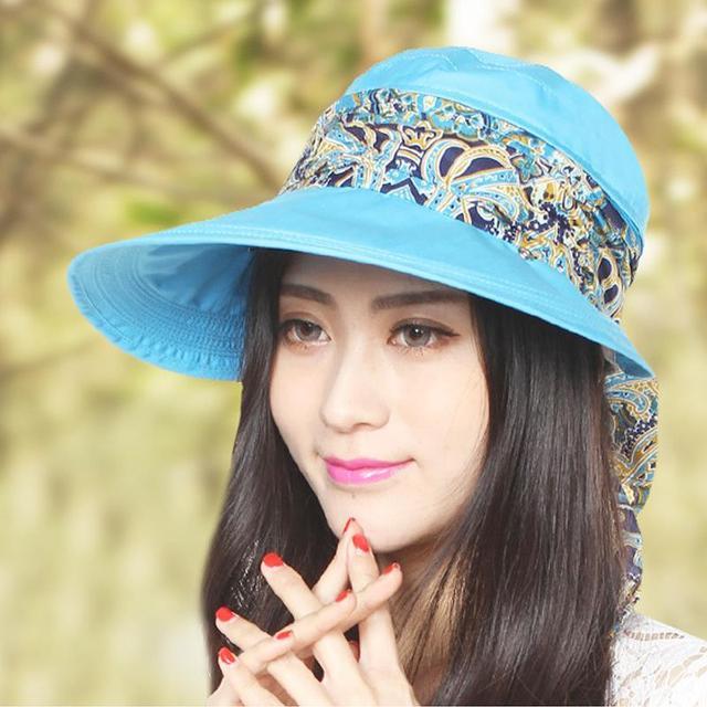 Nuevas mujeres protección UV bloqueador solar desmontable sombrero pesca Multicolor ronda Brim montañismo protector solar Cap envío gratis