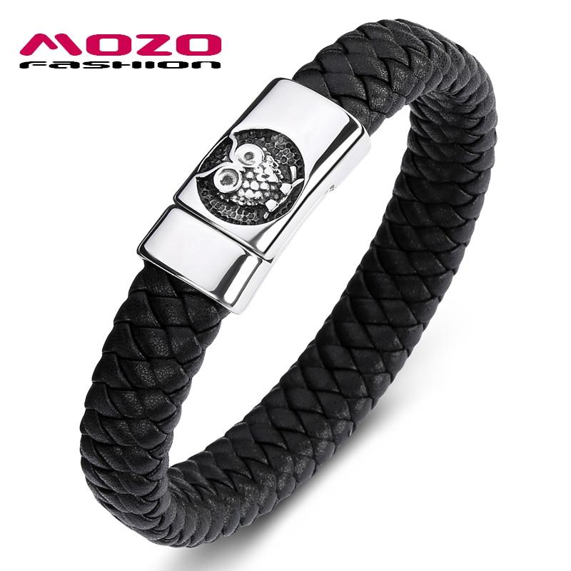 MOZO FASHION 2020 Men Bracelet Black Genuine Leather Stainless Steel Magnet Buckle Bracelet Man owl Punk Jewelry Gifts 091