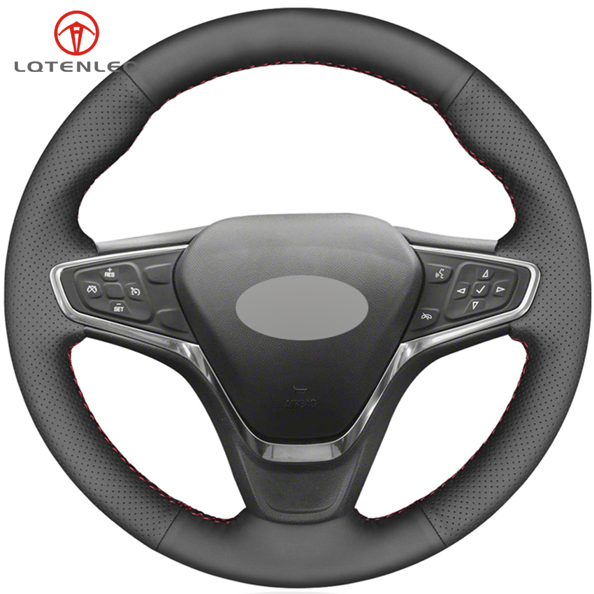 LQTENLEO Black Genuine Leather Car Steering Wheel Cover For Chevrolet Malibu XL 2015 2019 Equinox 2017