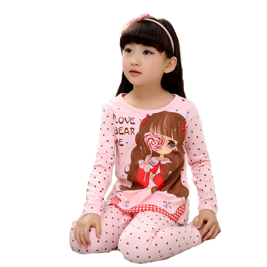 Girls Pajamas Sets for Kids Clothes Cute Cotton Cartoon Girls Sleepwear Spring Long Sleeve Homewear Suits Vestidos 6 8 10 Years lovely spring pure cotton thomas and friends children clothing long sleeve tops pants for 2 7 years boy kids pajamas sleepwear