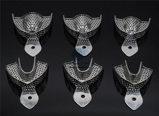 歯科ラボ 6 ピース/セット印象トレー義歯楽器ステンレス鋼の印象トレイ