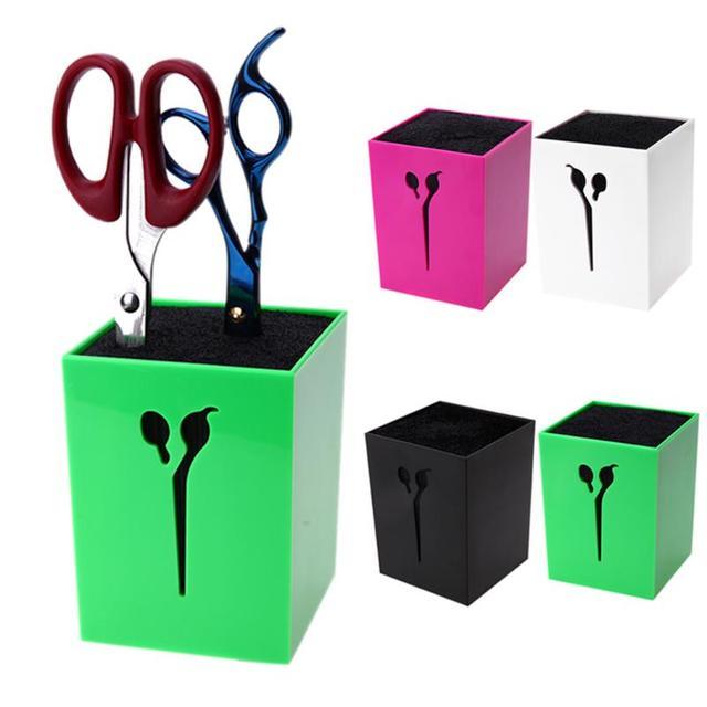Professional Hairdressing Scissors Holder Stand Case Salon Hairdresser Hair Clips Storage Box Pot