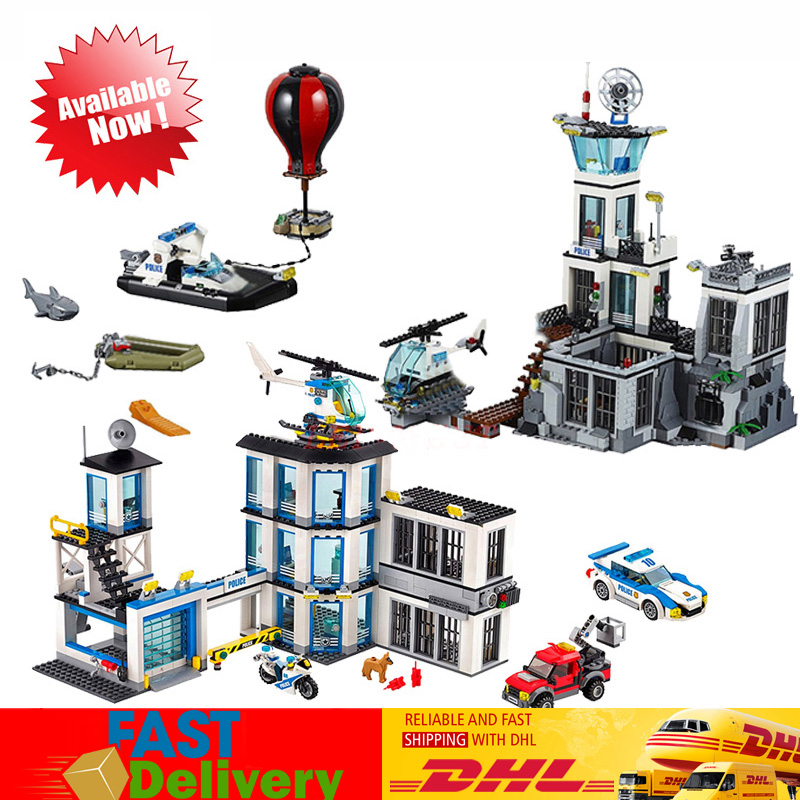 Lepin City 02006 Police Prison Island+ 02020 Police Station Building Blocks Bricks Toys Gifts Compatible LegoINGlys 60130 60141 цена