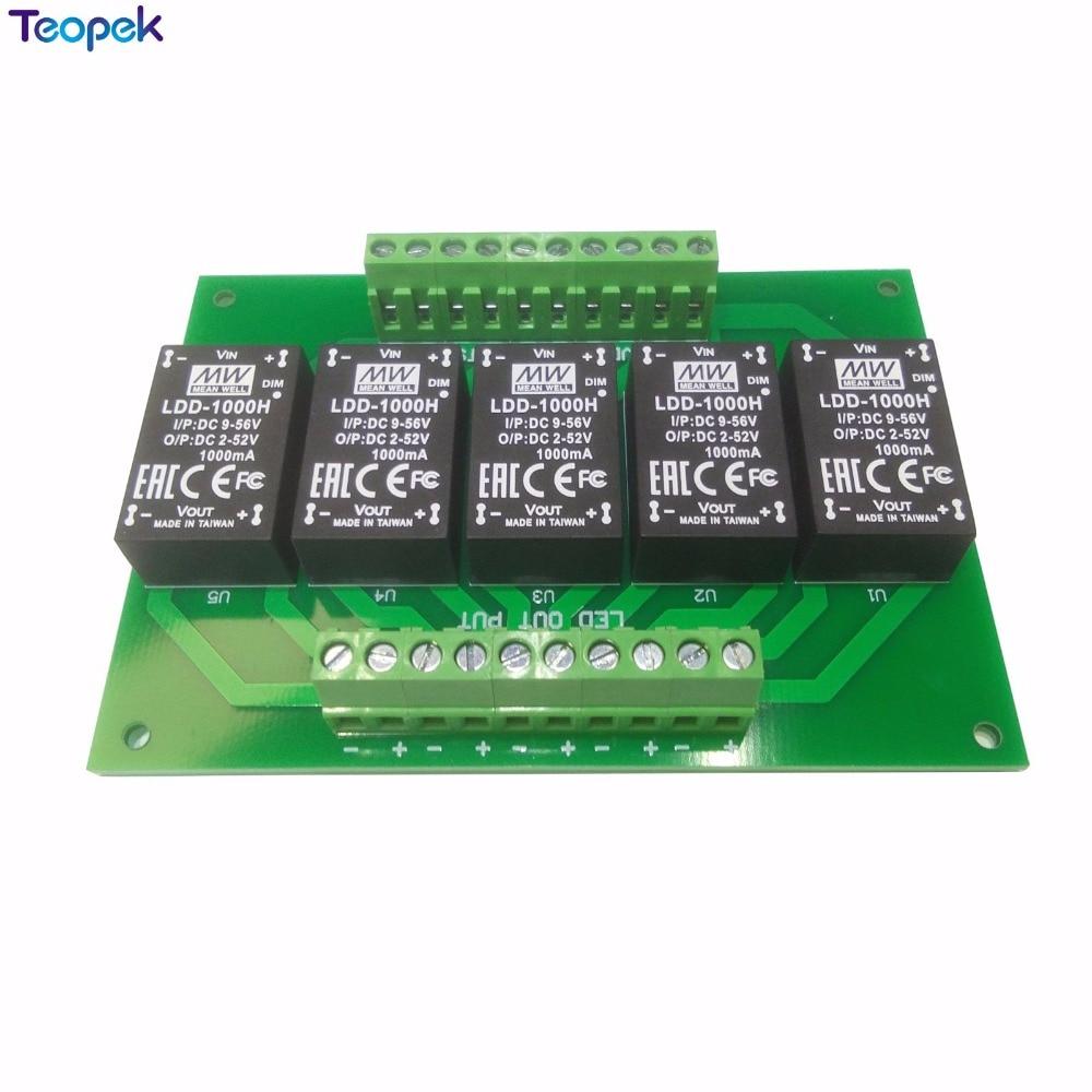 5 canal LDD Placa de controlador de Led con LDD350H LDD500H LDD700H LDD1000H MEANWELL Original corriente constante de paso abajo LED conductor