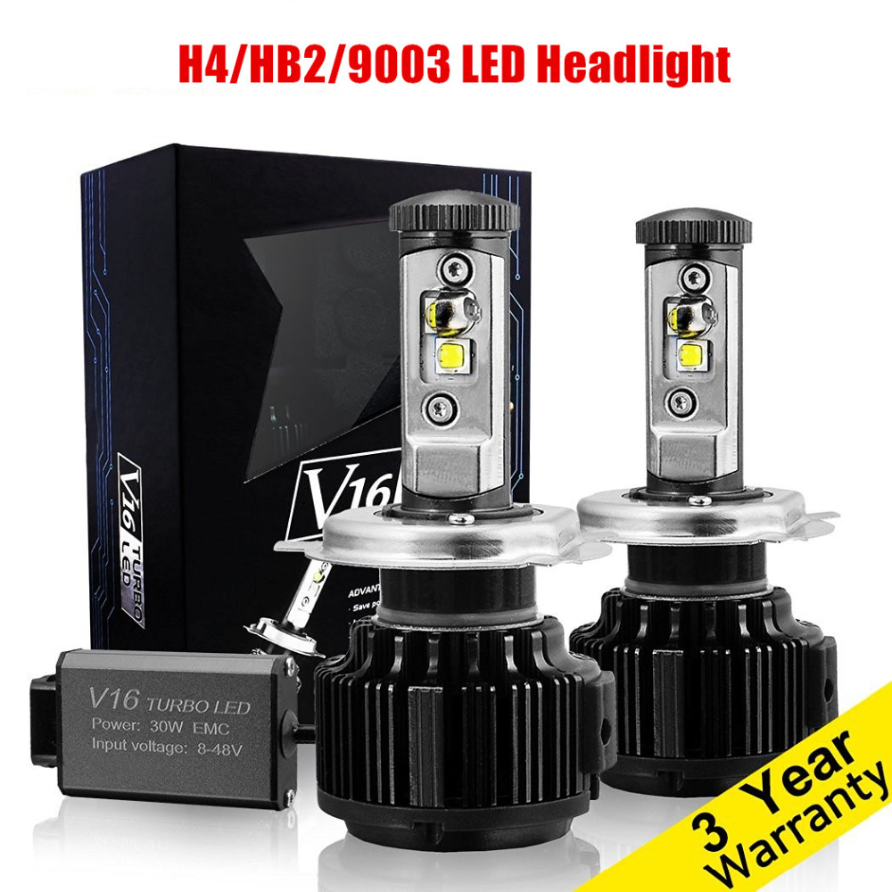 1Pair High Quality Car LED Headlight H4 Hi/Lo Auto LED Headlight Bulb H4 Head Lamp 7200LM White 80W 6000K LED Headlight Lamp 60w 6000lm h4 led light headlight vehicle car hi lo beam bulb kit 6000k white fe9