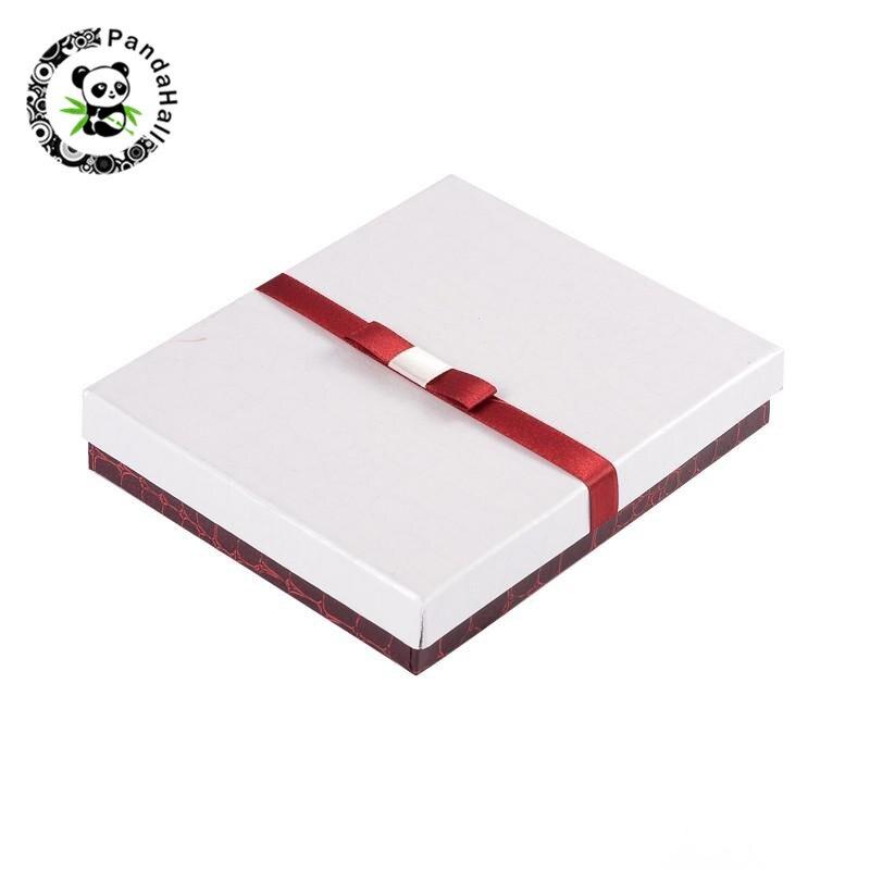 Conjunto de Jóias Caixas De Presente De Papelão Branco Caixas cubóide com Esponja e Fita Loja de Presentes da Jóia Display 16x13x3 cm; 9x9x3 cm