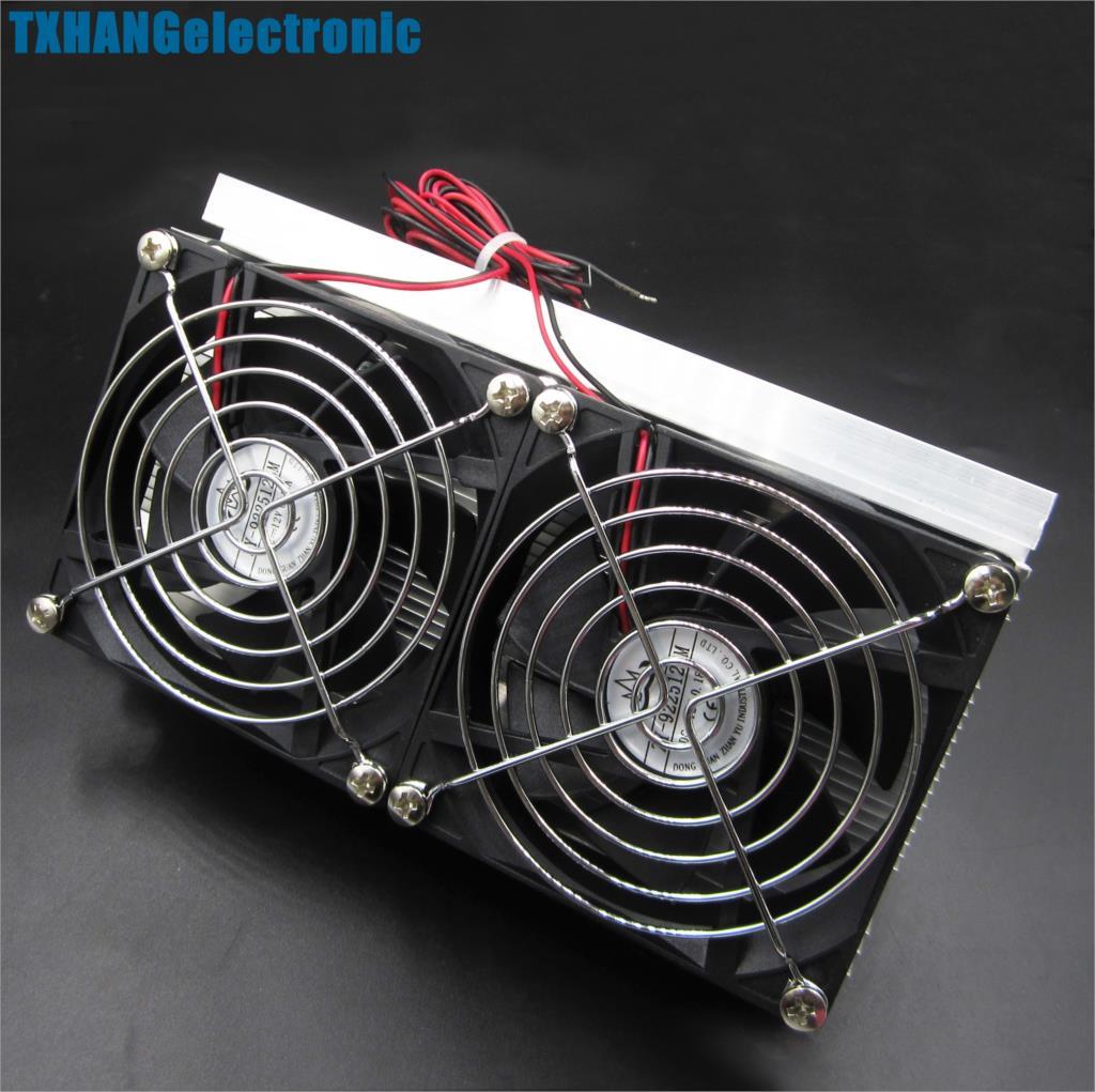 Thermoelectric Peltier Refrigeration Cooling System Kit Cooler Double Fan DIY|kit diy|diy kit|fan kit - title=