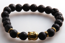 MOODPC Wholesale Jewelry 8m Lava Semi Precious Stone Beads Antique Gold And Silver Buddha Bracelets