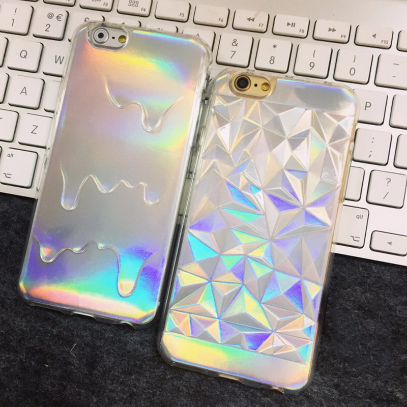 New Holographic Iridescent Card Rainbow 3D Diamond Geometric Drippy TPU Skin Cover for iPhone 8 7 6 6s Plus Fashion Pastel Cases