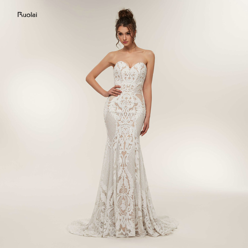 Prom Dresses 2018 Long Mermaid Sequin Lace Sexy Prom Gown Formal ...