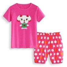 Hooyi/пижамный комплект для девочек 2, 3, 4, 5, 6, 7 лет, милый костюм с собачкой, летняя детская пижама принцессы для девочек, комплект одежды для младенцев