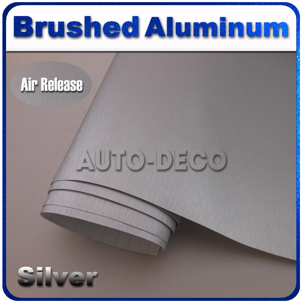 Quality Assurance Silver Brushed Aluminum Vinyl Car Sticker Cover Metal Wraps with Air Bubble Free size:1.52*30m/roll free delivery mc9s12h128vfv mc9s12h128vfve jiaxing electronic quality assurance