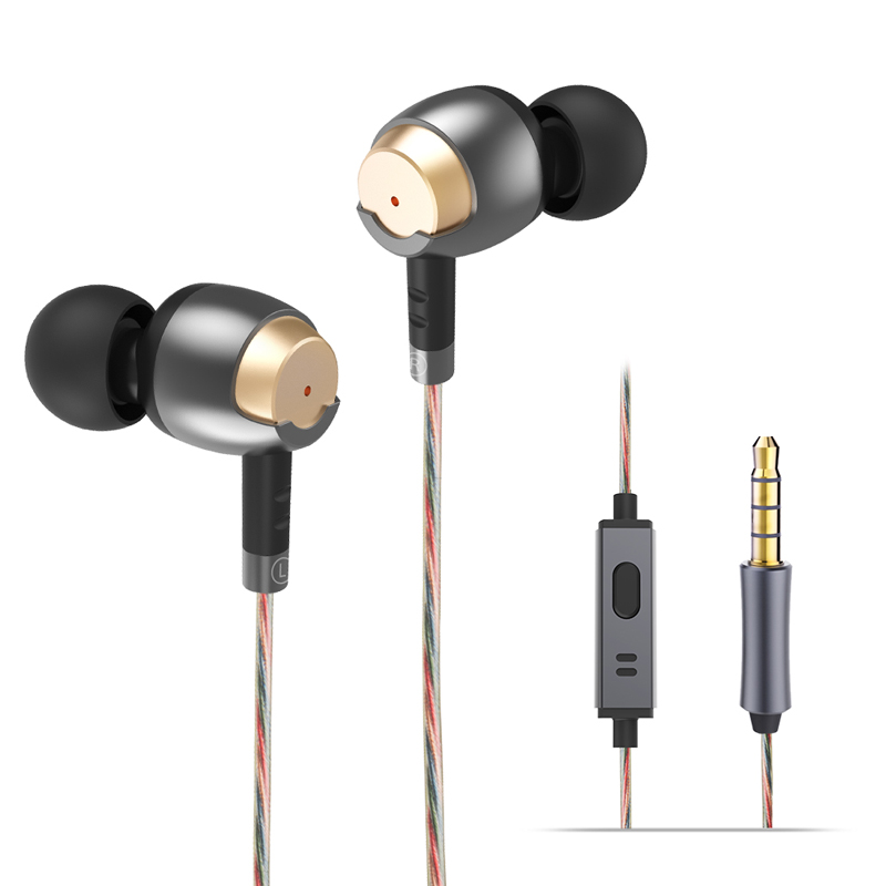 WIEPPO Casque Isolation Sonore Stéréo Basse Filaire Métal Écouteurs avec Micro Dynamique Pilotes Ergonomique Écouteurs