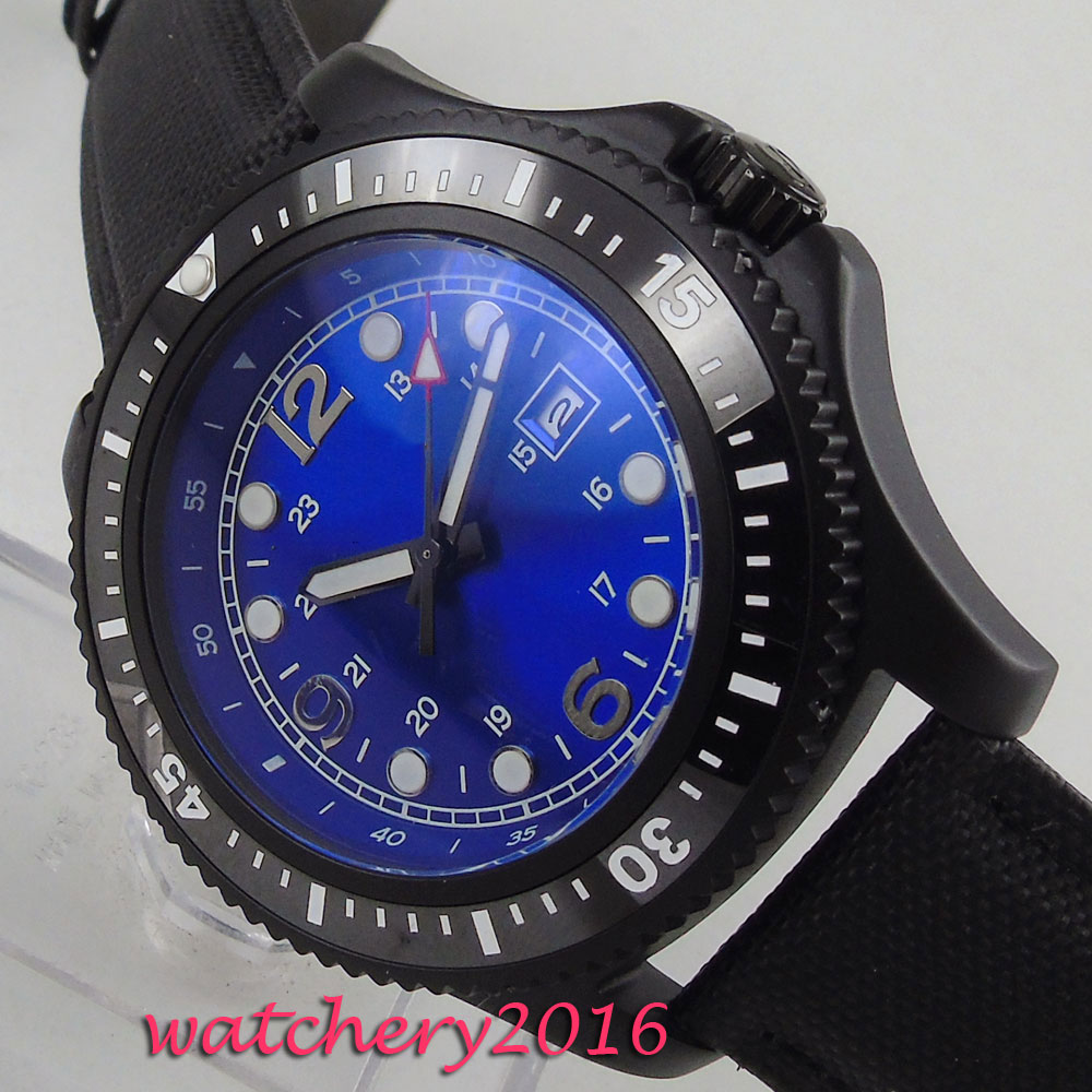 44mm BLue sterile Dial PVD Coated Luminous Rotating Bezel no logo Fashion Leather strap Date Automatic Mechanical mens Watch44mm BLue sterile Dial PVD Coated Luminous Rotating Bezel no logo Fashion Leather strap Date Automatic Mechanical mens Watch