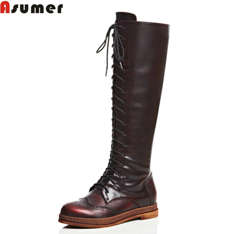 Asumer Fashion winter keep warm women boots flat heel round toe platform shoes solid lace up genuine leather mid calf boots new arrival 2016 winter keep warm women boots low heel round toe platform shoes solid genuine leather mid calf boots